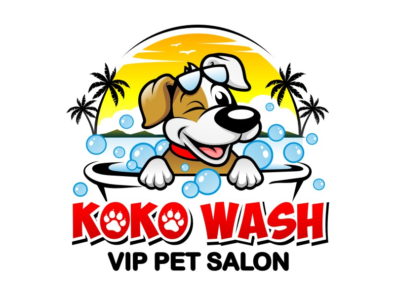 WASH N' GO   Vip Pet Salon logo design by haze