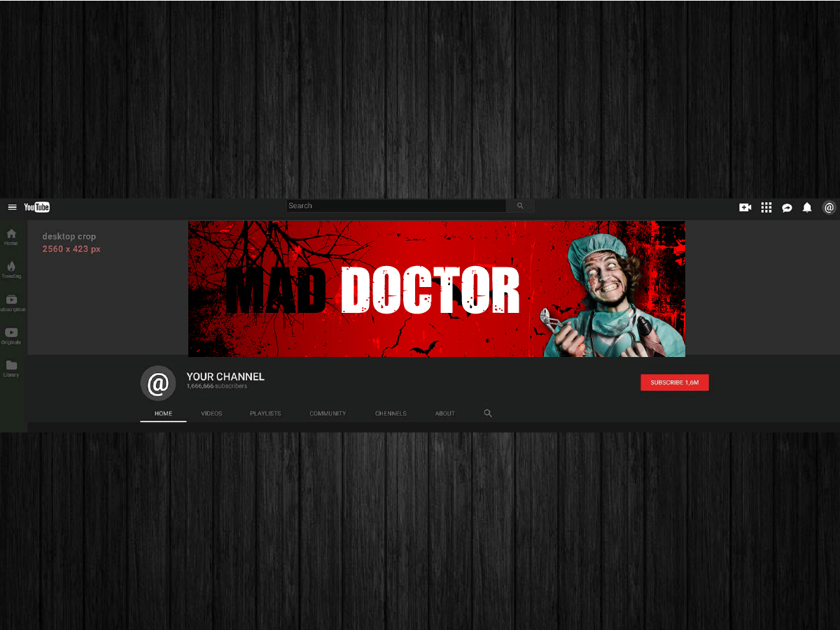 Youtube channel banner - Mad Doctor logo design by artbitin