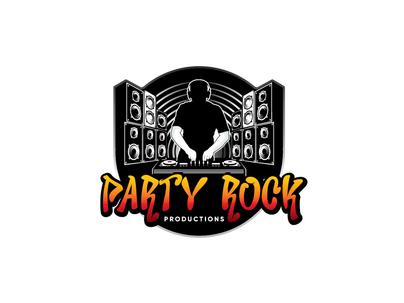 Party Rock Productions logo design by emberdezign