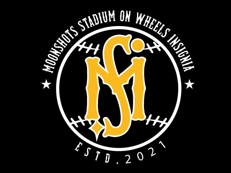 Moonshots Stadium On Wheels Insignia logo design by DreamLogoDesign