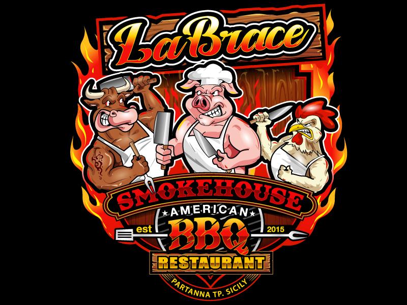 La Brace Smokehouse - American BBQ Restaurant  est. 2015 Partanna Tp. Sicily logo design by uttam