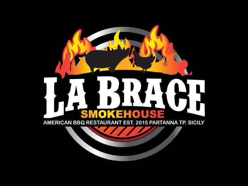 La Brace Smokehouse - American BBQ Restaurant  est. 2015 Partanna Tp. Sicily logo design by ElonStark