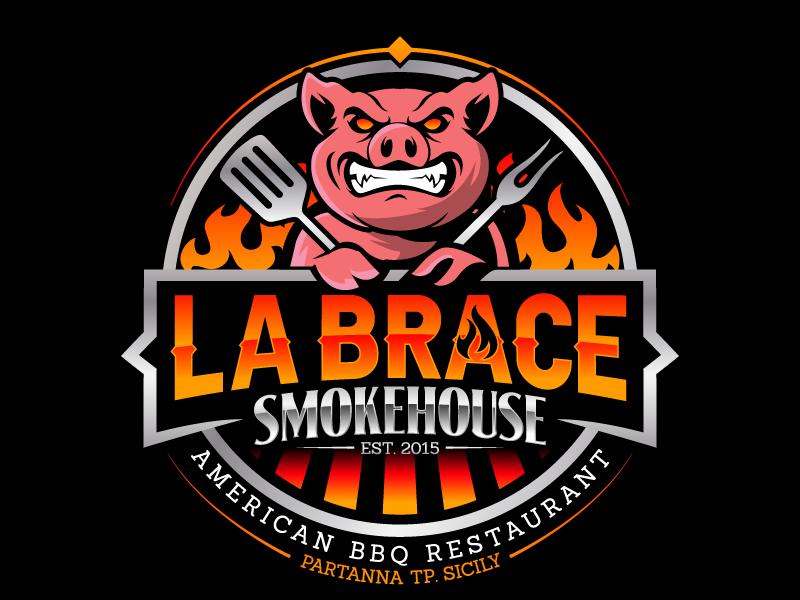 La Brace Smokehouse - American BBQ Restaurant  est. 2015 Partanna Tp. Sicily logo design by jaize
