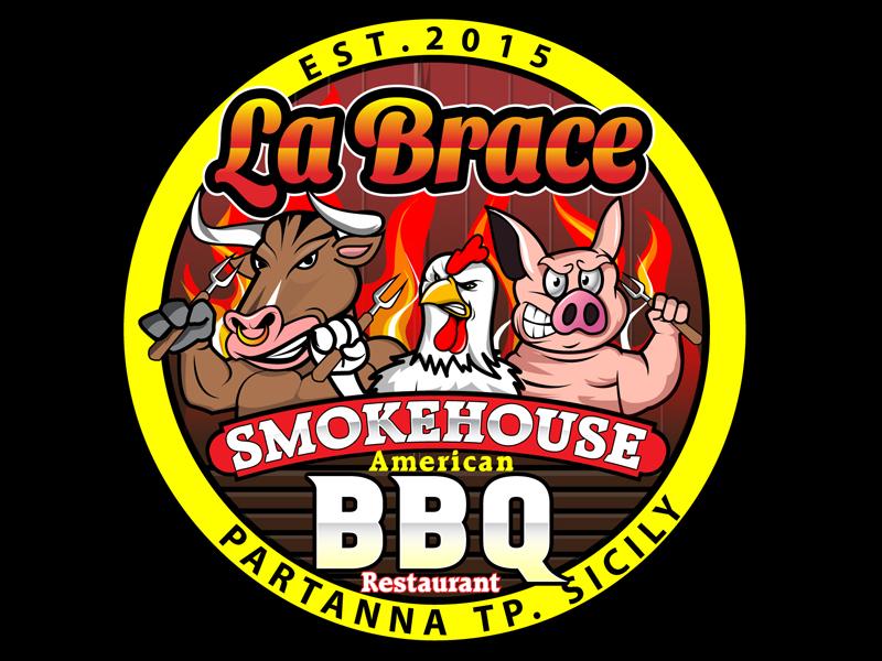 La Brace Smokehouse - American BBQ Restaurant  est. 2015 Partanna Tp. Sicily logo design by DreamLogoDesign