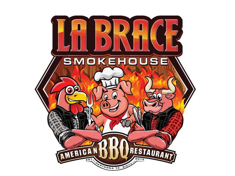 La Brace Smokehouse - American BBQ Restaurant  est. 2015 Partanna Tp. Sicily logo design by LucidSketch