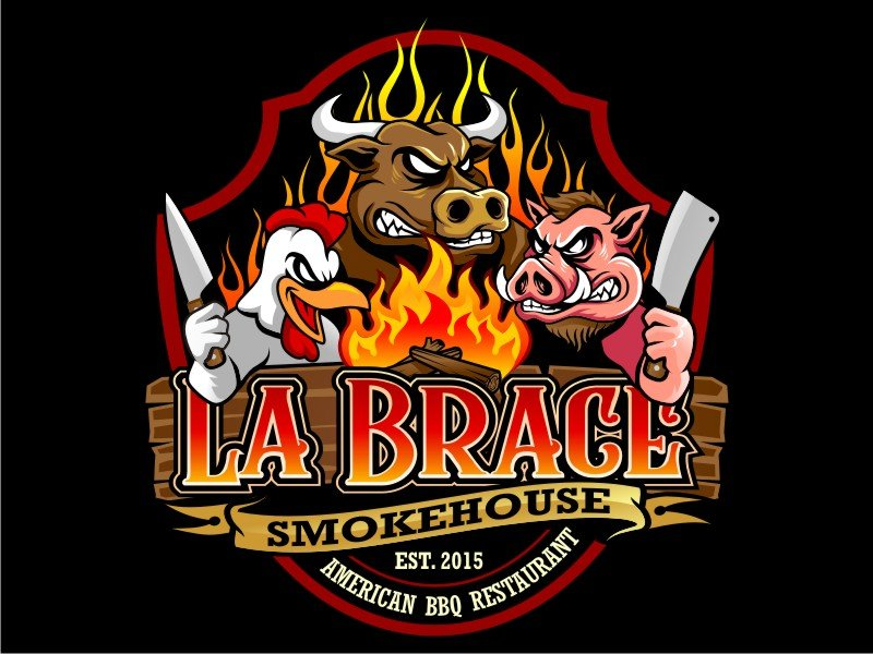 La Brace Smokehouse - American BBQ Restaurant  est. 2015 Partanna Tp. Sicily logo design by haze