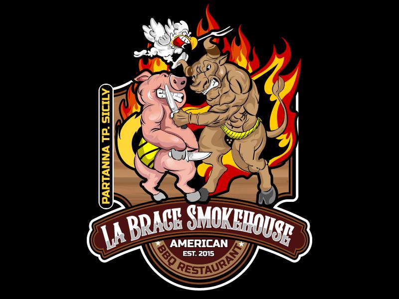 La Brace Smokehouse - American BBQ Restaurant  est. 2015 Partanna Tp. Sicily logo design by LogoQueen