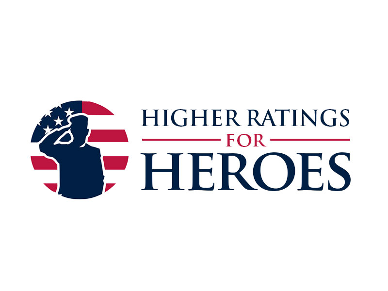 Higher Ratings For Heroes logo design by kunejo