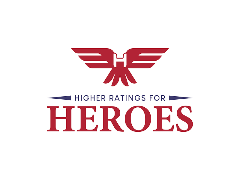 Higher Ratings For Heroes logo design by Risza Setiawan