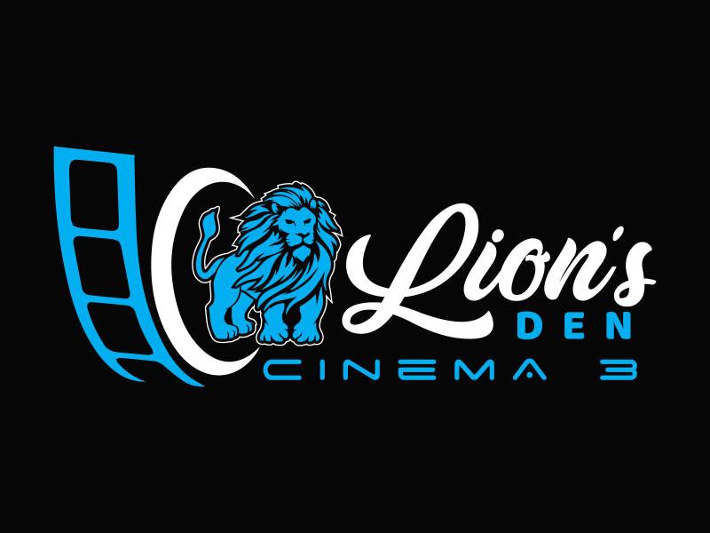 Lion's Den Cinema 3 logo design by nona