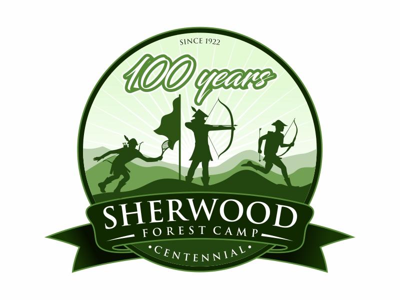 Sherwood Forest Camp Centennial logo design by mutafailan
