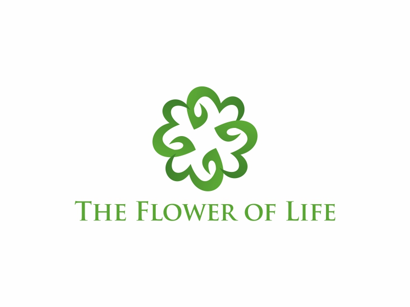 Leaves of Life lettering over top the flower of life(Sacred Geometry) symbol. logo design by Greenlight