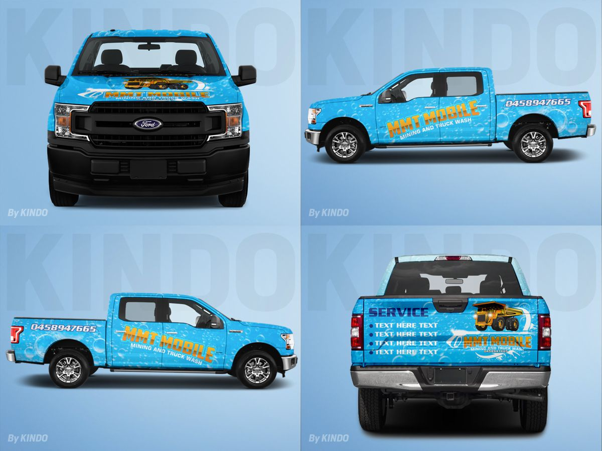 MMT Mobile mining and truck wash logo design by Kindo