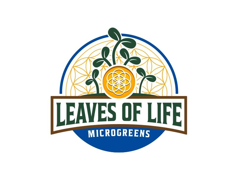 Leaves of Life lettering over top the flower of life(Sacred Geometry) symbol. logo design by ingepro