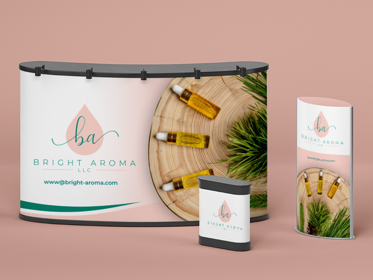 Looking for the following 4 items: business cards/letterhead and envelopes, stickers, and a booth banner logo design by yondi