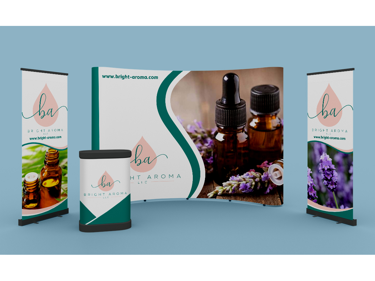 Looking for the following 4 items: business cards/letterhead and envelopes, stickers, and a booth banner logo design by Thuwan Aslam Haris