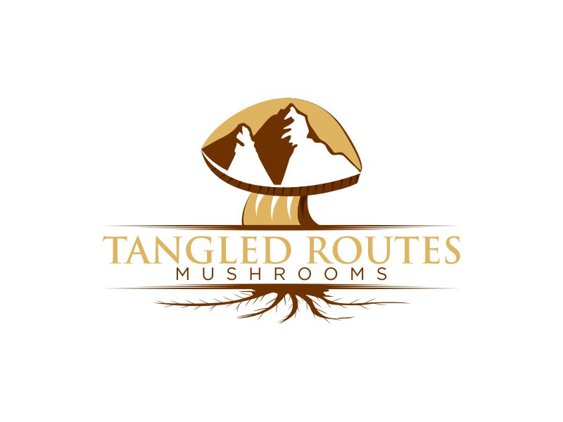 Tangled Routes Mushrooms logo design by Msinur