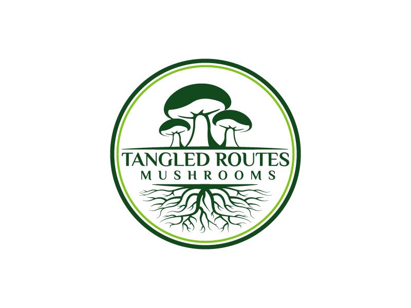 Tangled Routes Mushrooms logo design by Kirito