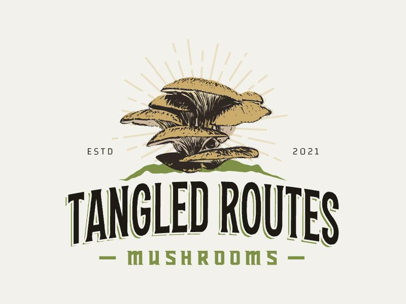 Tangled Routes Mushrooms logo design by Putraja