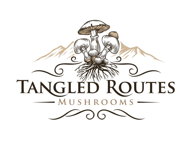 Tangled Routes Mushrooms logo design by REDCROW