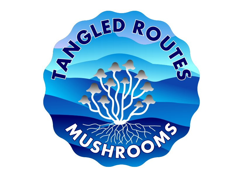 Tangled Routes Mushrooms logo design by aura