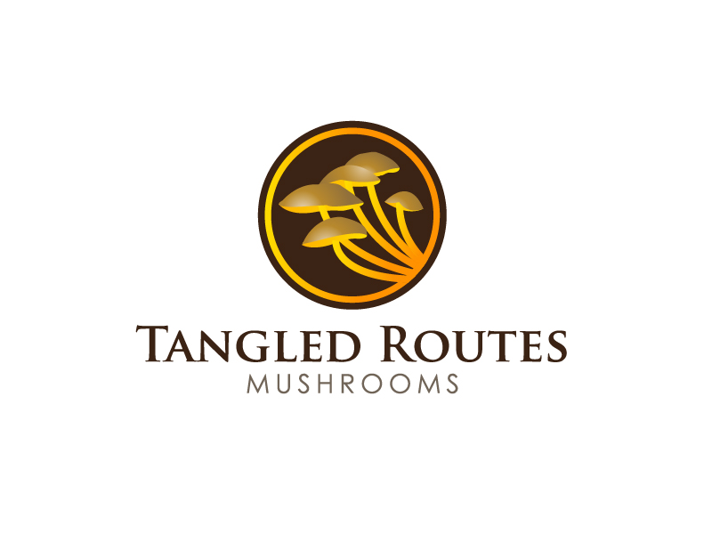 Tangled Routes Mushrooms logo design by Marianne