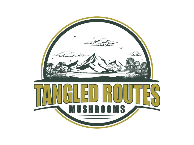Tangled Routes Mushrooms logo design by nona