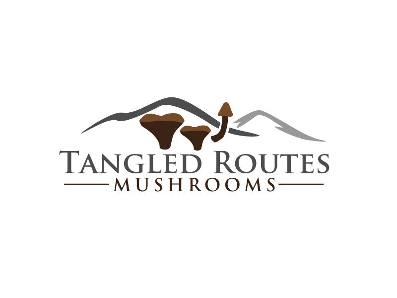 Tangled Routes Mushrooms logo design by Webphixo