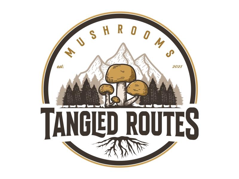 Tangled Routes Mushrooms logo design by Alfatih05