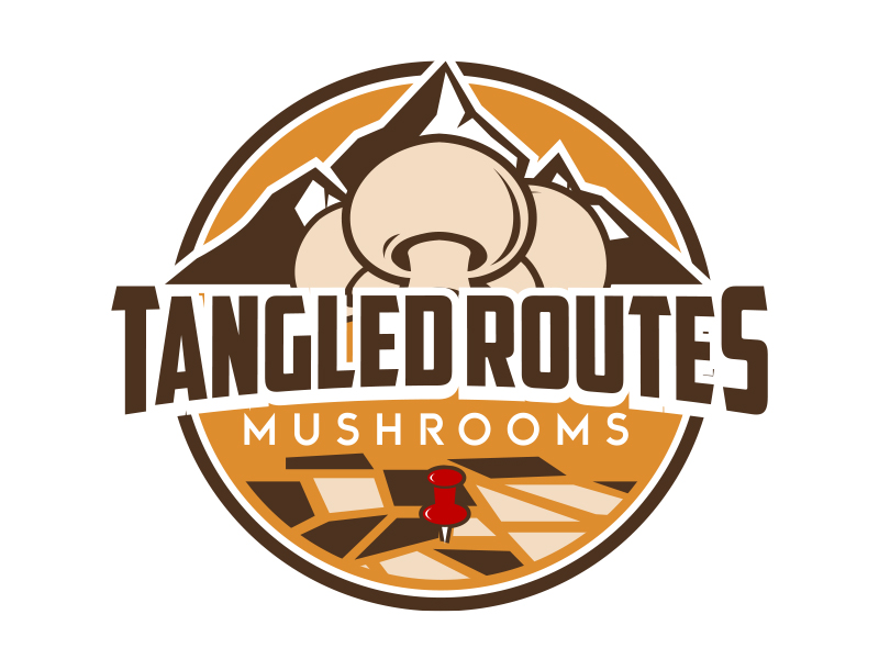 Tangled Routes Mushrooms logo design by MarkindDesign™