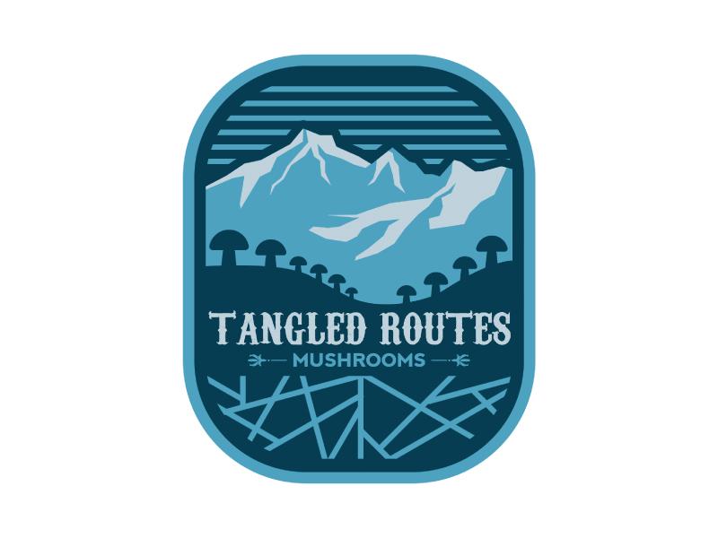 Tangled Routes Mushrooms logo design by Erasedink