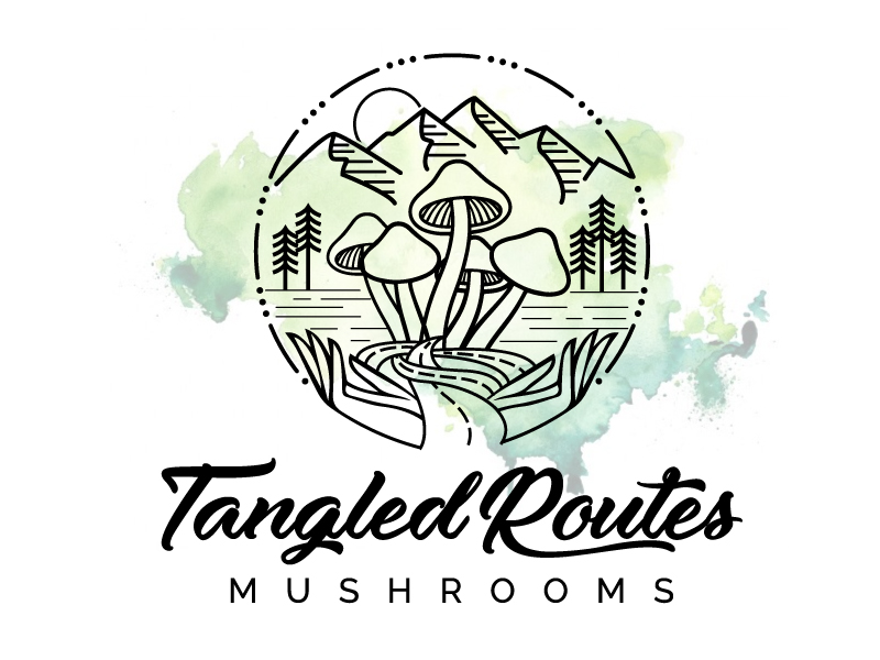 Tangled Routes Mushrooms logo design by jaize