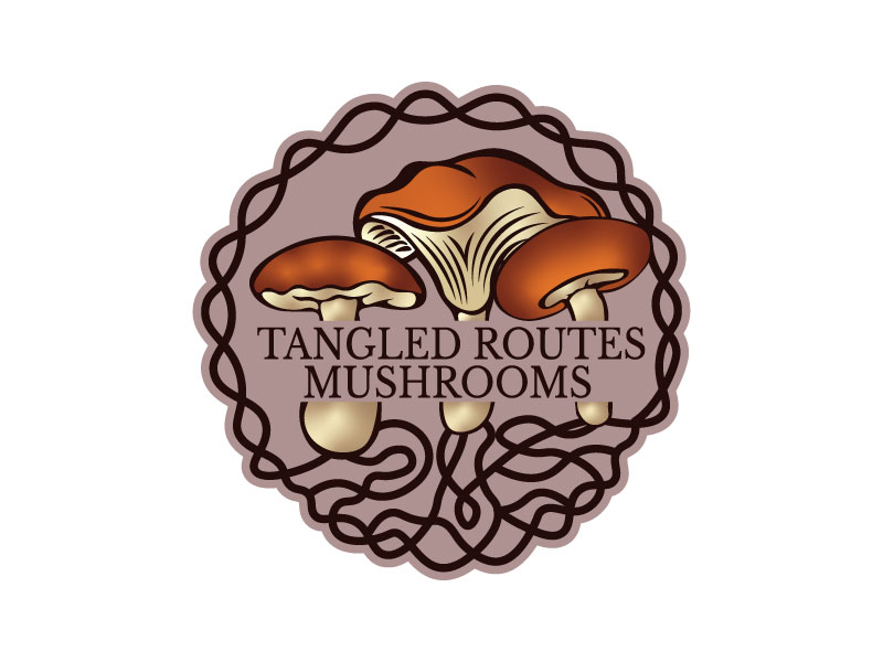 Tangled Routes Mushrooms logo design by Htz_Creative