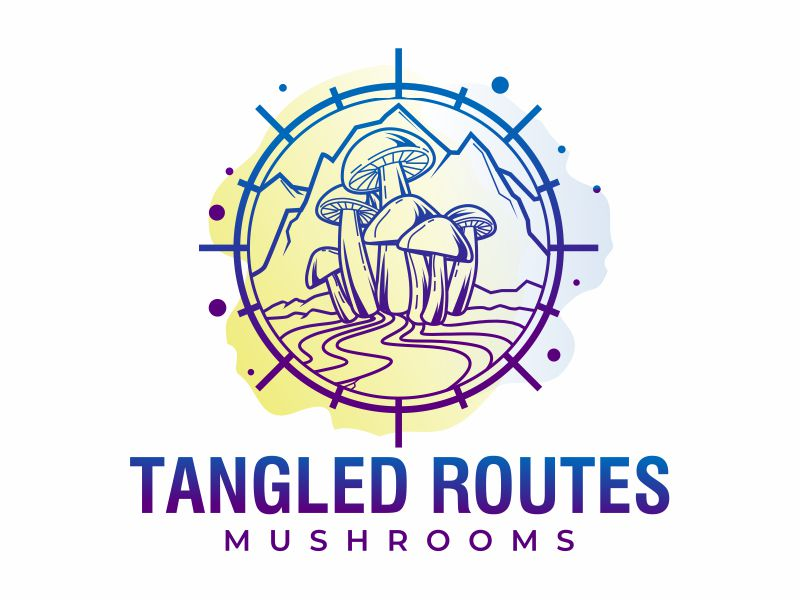 Tangled Routes Mushrooms logo design by mutafailan