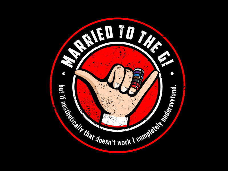 """""""Married to The Gi"""" , but if aesthetically that doesn't work I completely understand. logo design by Vickyjames"""
