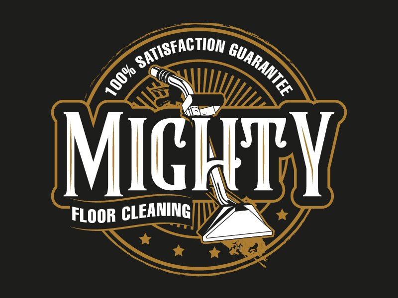 Mighty floor cleaning logo design by il-in