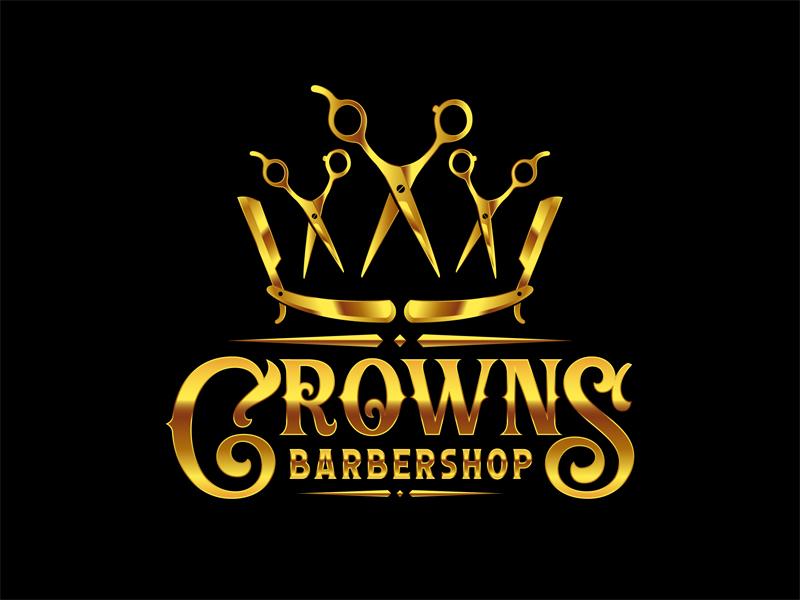 Crowns Barbershop logo design by VhienceFX