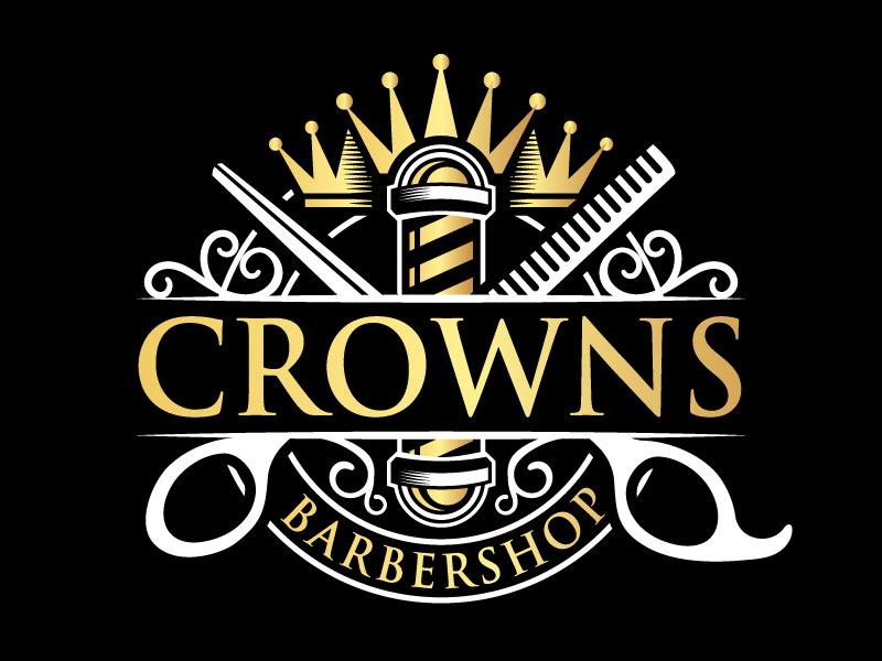 Crowns Barbershop logo design by iamjason