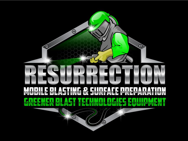 Resurrection , Mobile Blasting & Surface Preparation, Greener Blast Technologies Equipment Logo Design