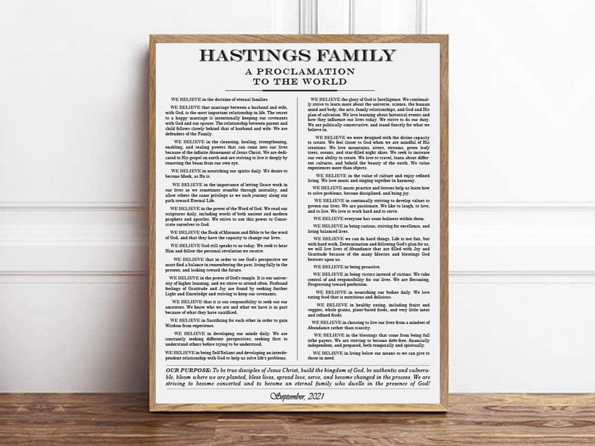 Hastings Family Proclamation Logo Design